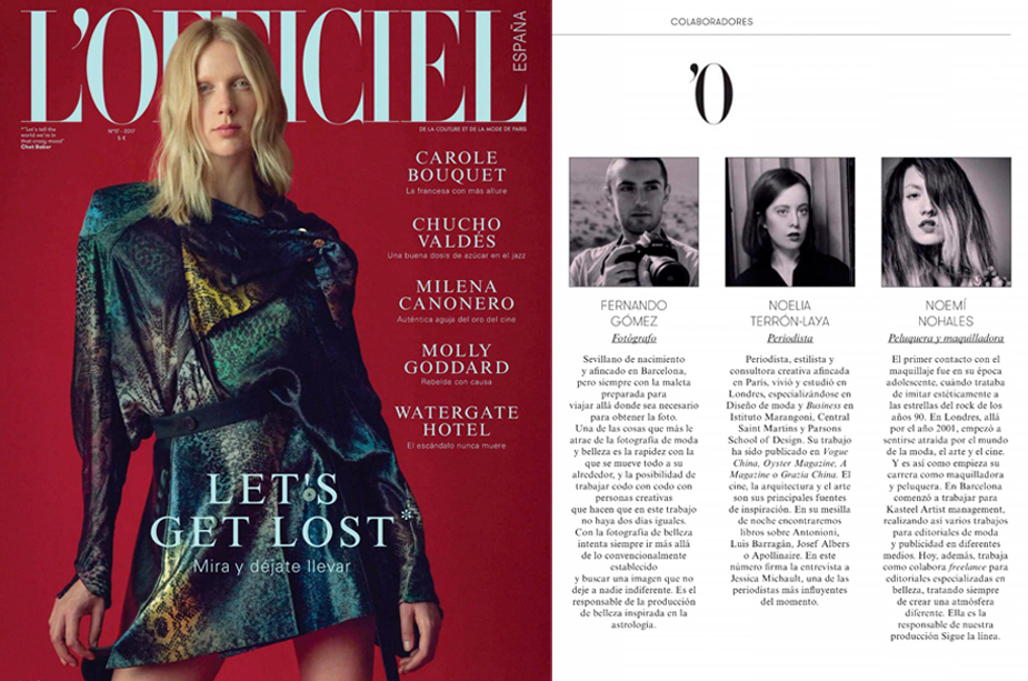 L'OFFICIEL SPAIN. Contributors' page (May 2017 issue)